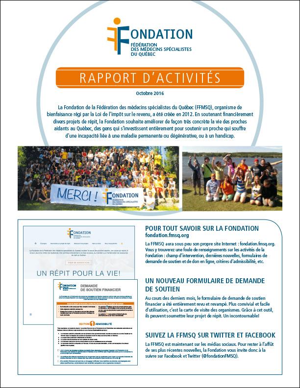 Rapport des activités 2016
